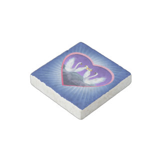 Swans Wedding Stone Magnets