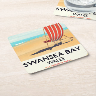 Swansea Bay Wales Seaside poster Square Paper Coaster