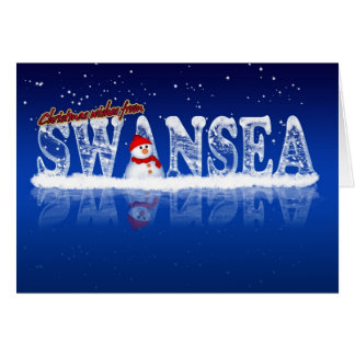 Swansea Christmas Card - Ice Text And Snowman