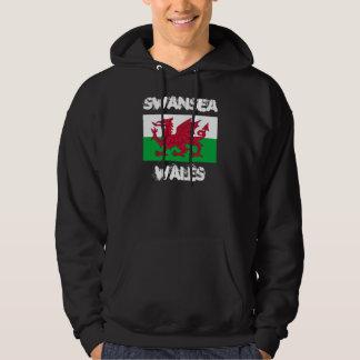 Swansea, Wales with Welsh flag Hoodie