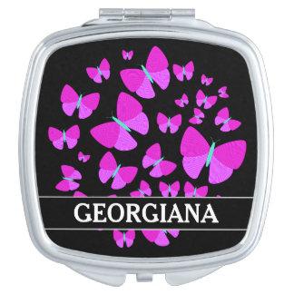 Swarm of Artistic Butterflies + Custom Name Makeup Mirror