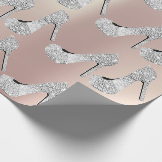 Swarovski Crystals Diamond High Heels Shoes Pearly Wrapping Paper