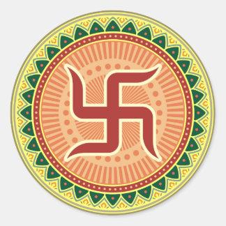 Swastika with Traditional Indian style Mandana Round Sticker