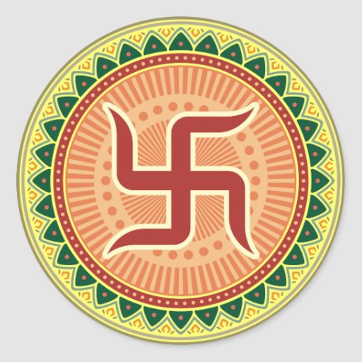 Swastika with Traditional Indian style Mandana Stickers