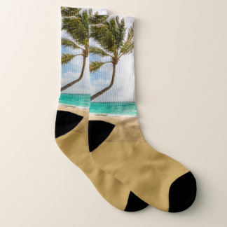 Swaying Palm Trees Tropical Scene Socks