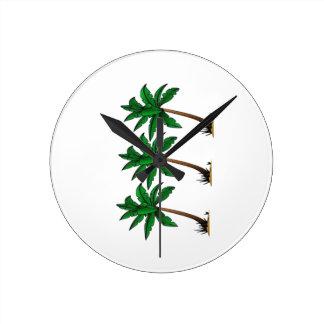 Swaying Palms Round Clock