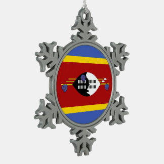 Swaziland Flag Snowflake Pewter Christmas Ornament
