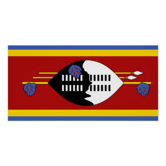 Swaziland National World Flag Poster