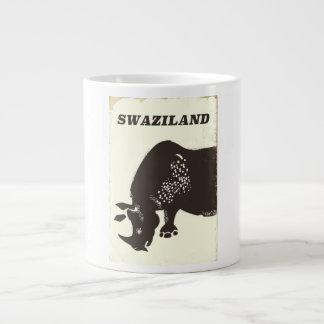 Swaziland Rhino vintage style travel poster Large Coffee Mug
