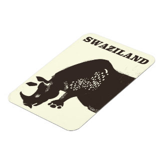 Swaziland Rhino vintage style travel poster Rectangular Photo Magnet