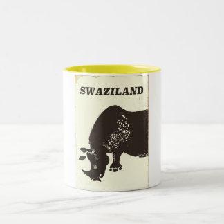 Swaziland Rhino vintage style travel poster Two-Tone Coffee Mug