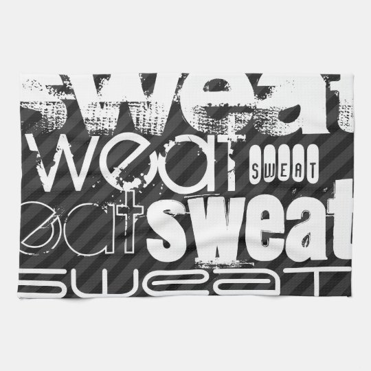 Sweat; Black & Dark Grey Stripes Kitchen Towels