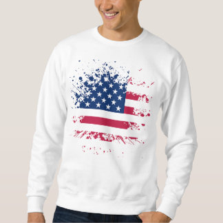Sweat White Man BASIC the USA Flag Sweatshirt