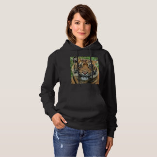Sweat with hood basic Tiger for woman, Black Hoodie