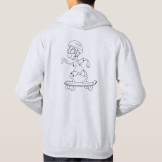 Sweat with hood logo and alien gray skator clearly hoodie