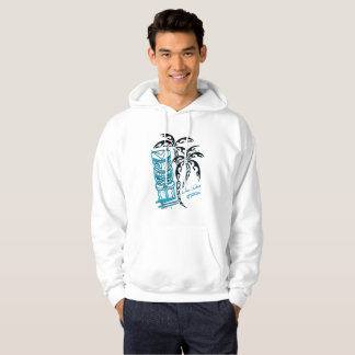 Sweat with hood white man palm trees tiki hoodie