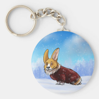 sweater corgi 2 basic round button keychain