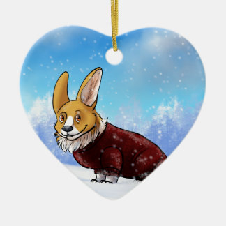 sweater corgi 2 ceramic heart ornament