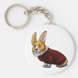 sweater corgi basic round button keychain