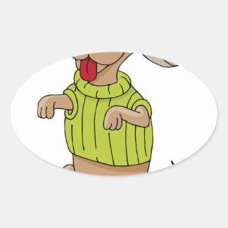 Sweater Dog Sitting Up Cartoon Oval Sticker