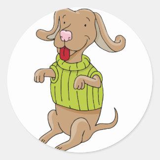 Sweater Dog Sitting Up Cartoon Round Sticker