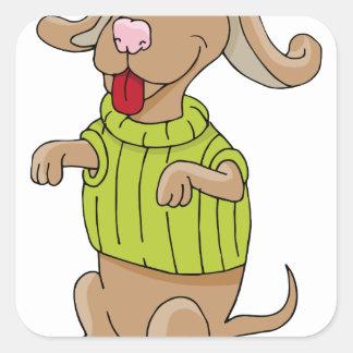 Sweater Dog Sitting Up Cartoon Square Sticker