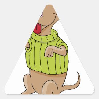 Sweater Dog Sitting Up Cartoon Triangle Sticker