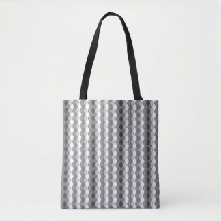 Sweater Patterned Gray and White Diamond Tote