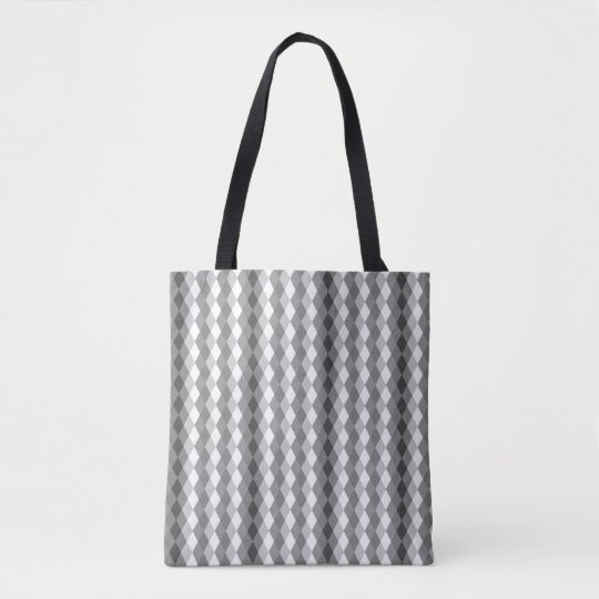 Sweater Patterned Grey and White Diamond Tote