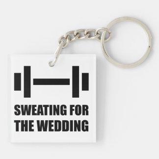 Sweating For The Wedding Double-Sided Square Acrylic Keychain