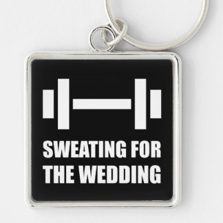 Sweating For The Wedding Silver-Colored Square Keychain