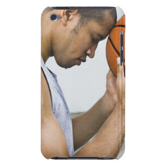 sweating man leaning forehead on basketball barely there iPod covers
