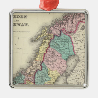 Sweden And Norway Silver-Colored Square Ornament