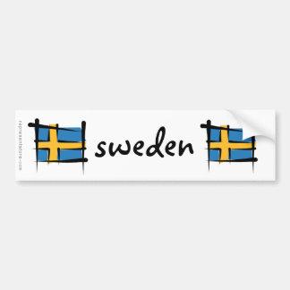 Sweden Brush Flag Bumper Sticker