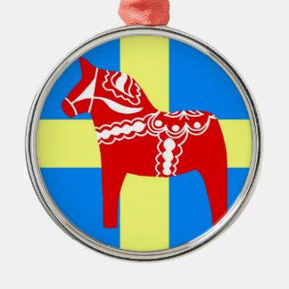 Sweden Dala Horse Silver-Colored Round Ornament