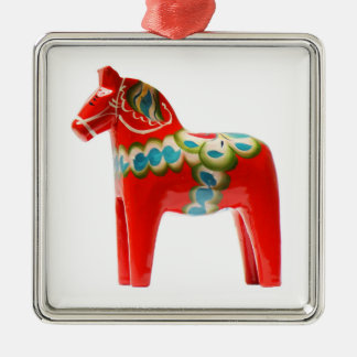 Sweden Dala Horse Silver-Colored Square Ornament