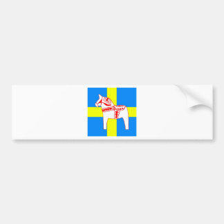 Sweden Dala Horse White Bumper Sticker