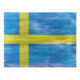 Sweden distressed Swedish flag Postcard