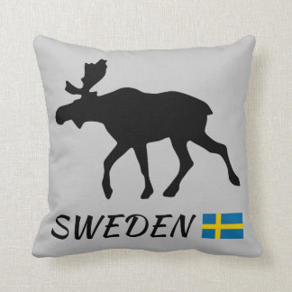 Sweden Elk and flag Throw Pillow