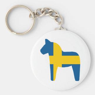 Sweden Flag Dala Horse Basic Round Button Keychain