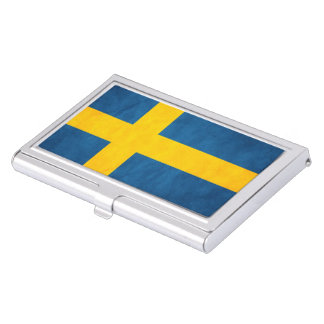 Sweden Flag Grunge Business Card Holders