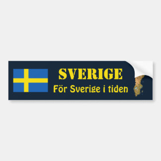Sweden Flag + Map Bumper Sticker