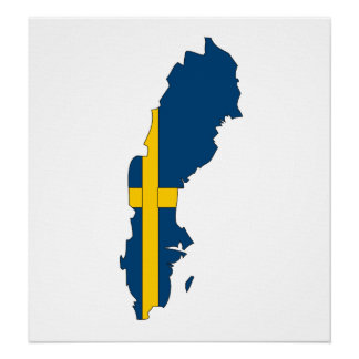 Sweden Flag Map full size Poster