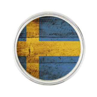 Sweden Flag on Old Wood Grain Lapel Pin