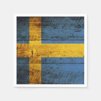 Sweden Flag on Old Wood Grain Paper Napkin