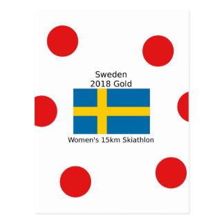 Sweden Gold 2018 - Women's 15km Skiathlon Postcard