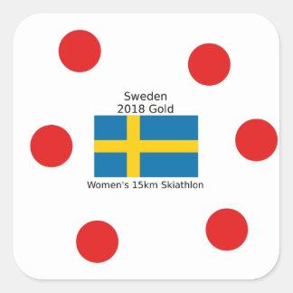 Sweden Gold 2018 - Women's 15km Skiathlon Square Sticker