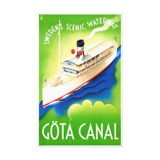 Sweden Göta Canal Restored Vintage Travel Poster Canvas Print
