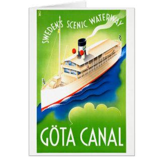 Sweden Göta Canal Restored Vintage Travel Poster Card