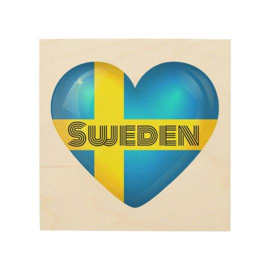 Sweden Heart Flag Wood Wall Art